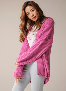 Loose Fit Knit Shawl Cardigan, Styleonme