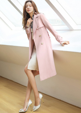 Double-Breasted Gold Button Trench Coat, Styleonme