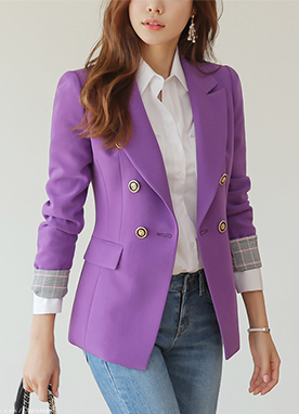 Check Print Accent Double-Breasted Jacket, Styleonme