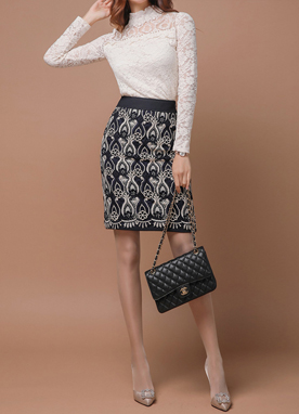 Metallic Accent Lace H-Line Skirt, Styleonme