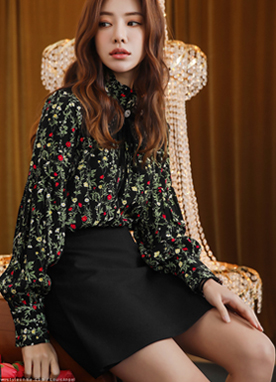 Floral Print Lace Detail Frill Neck Blouse, Styleonme