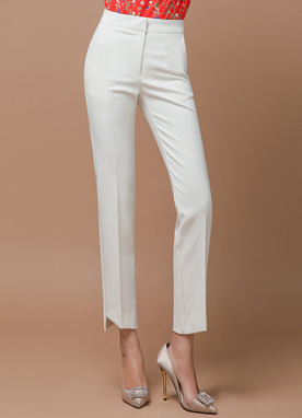 Step Hem Slim Fit Straight Leg Slacks, Styleonme