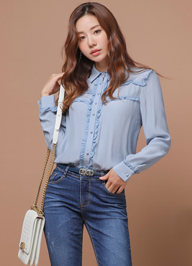 Petit Shirred Line Frill Collared Blouse, Styleonme