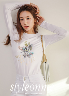 Flower Print Bead Detail Round Neck T-shirt, Styleonme
