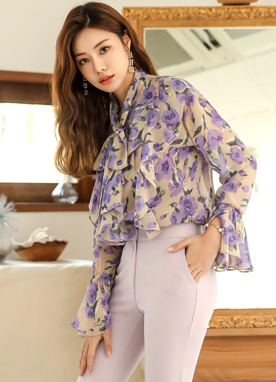 Floral Print Tie Neck Chiffon Blouse, Styleonme