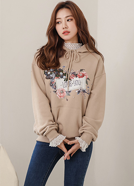 LOVE YOU Sequined Floral Detail Hoodie, Styleonme