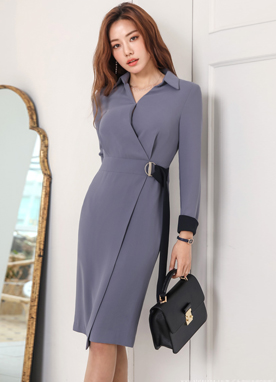 Two Color Belt Strap Collared Dress, Styleonme