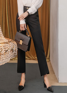 Step Hem Slim Straight Leg Slacks, Styleonme