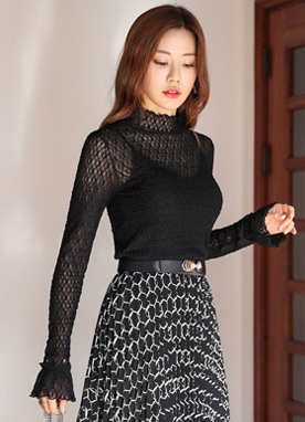 See-through Lace Mock Neck Blouse, Styleonme