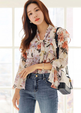 Floral Print Bell Sleeve Frill Blouse, Styleonme
