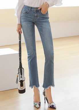 Uneven Frayed Hem Boot-Cut Jeans, Styleonme