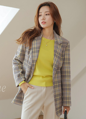 Check Print Tie Belt Collared Jacket, Styleonme