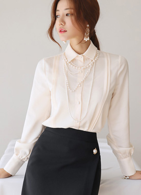 Shoulder Pintuck Detail Satin Blouse, Styleonme