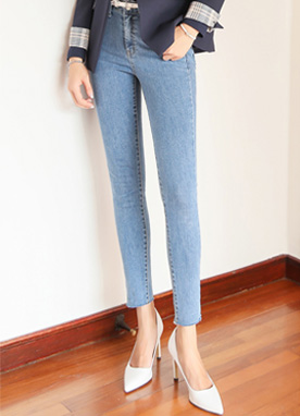 Cut Hem Light Blue Skinny Jeans, Styleonme