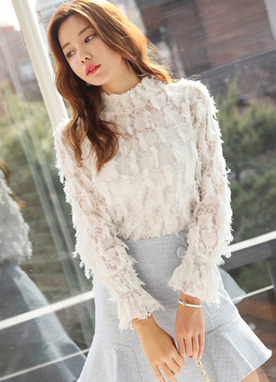 Feather See-through Lace Blouse, Styleonme