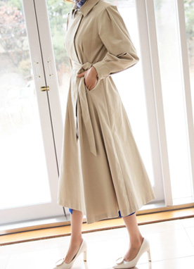 Pintuck Sleeve Flared Trench Coat, Styleonme