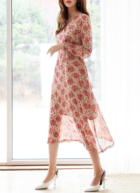 Floral Print V-Neck Chiffon Long Dress, Styleonme