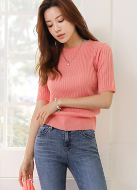 (1+1)Ribbed Half Sleeve Knit Tee, Styleonme
