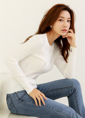 Jeweled Soft Ribbed Knit Tee, Styleonme