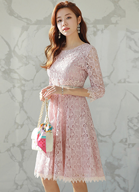 Full Lace Flared Dress, Styleonme