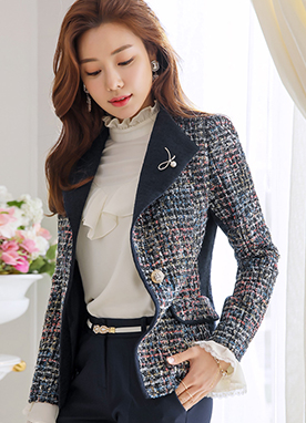 Pearl Brooch Set Tweed Jacket, Styleonme