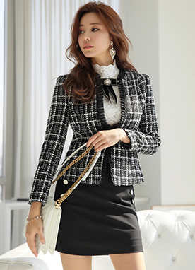 Pleated Trim Tweed Jacket, Styleonme