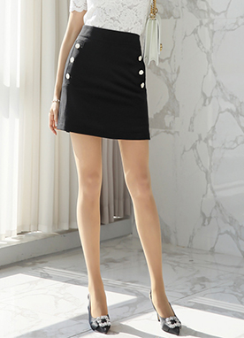 Side Button A-Line Skort, Styleonme