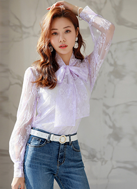 See-through Rose Lace Tie Neck Blouse, Styleonme