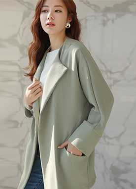 Loose Fit Open Front Safari Jacket, Styleonme