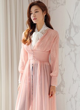 See-through Chiffon Long Robe Cardigan, Styleonme