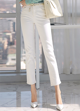 Cream Color Straight Leg Pants, Styleonme