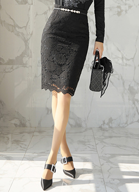 Floral Lace H-Line Skirt, Styleonme
