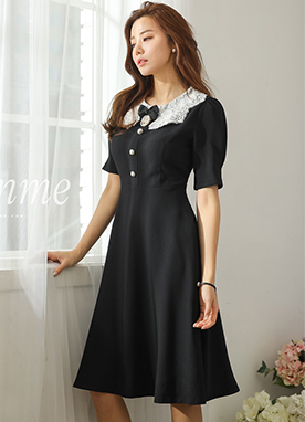 Wide Lace Collar Pearl Button Dress, Styleonme