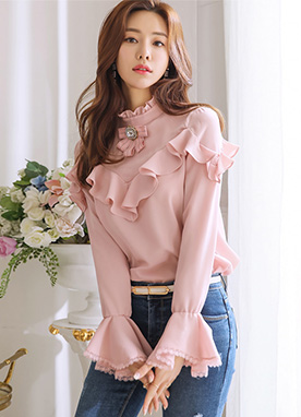 Romantic Ruffle Bell Sleeve Blouse, Styleonme