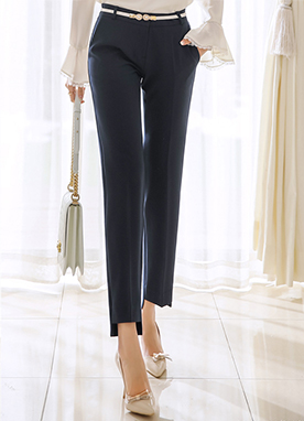 Step Hem Straight Leg Slacks, Styleonme