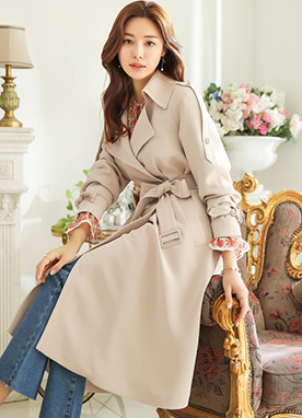 Back Button Detail Belted Trench Coat, Styleonme
