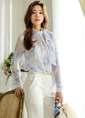 Soft Floral Print Ribbon Tie Blouse, Styleonme