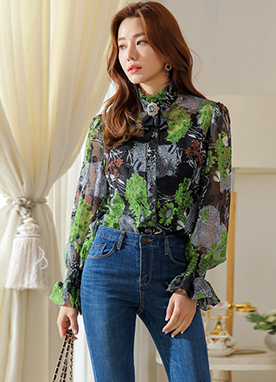Abstract Floral Print Shirred Chiffon Blouse, Styleonme