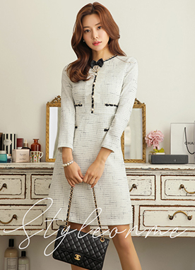 Pearl Accent Tweed Dress, Styleonme