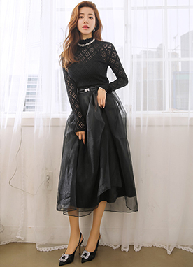 Organza Mesh Lace Skirt, Styleonme