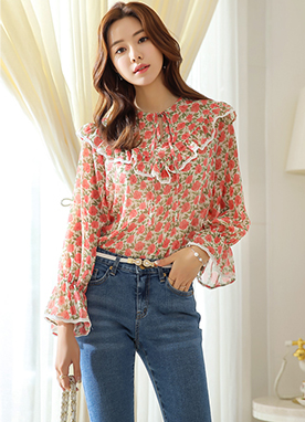 Floral Print Ribbon Tie Ruffle Blouse, Styleonme