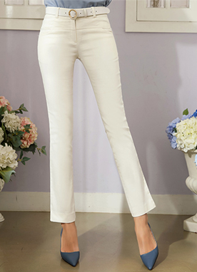 Side Slit Slim Fit Straight Leg Pants, Styleonme