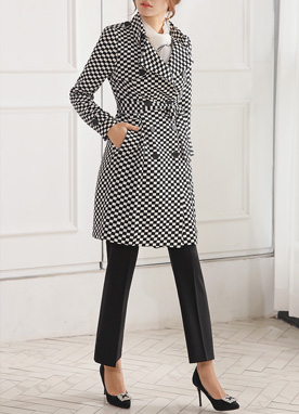 Checkered Double-Breasted Trench Coat, Styleonme