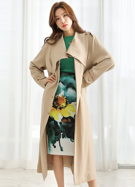 Cuff Neck Single-Breasted Trench Coat, Styleonme