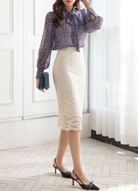 Scallop Hem Floral Lace H-Line Skirt, Styleonme