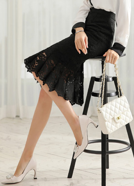 Floral Lace Pleated Hem Skirt, Styleonme