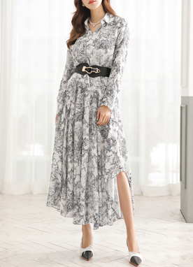 Luxury Print Asymmetric Hem Collared Dress, Styleonme