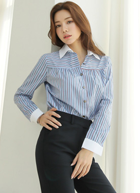Two Color Pinstripe Collared Shirt, Styleonme
