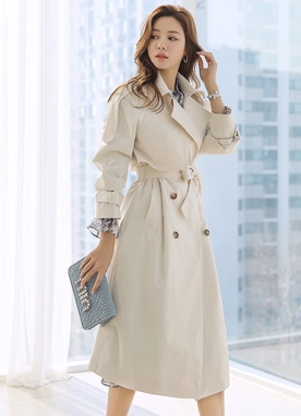 Double-Breasted Waist Tie Trench Coat, Styleonme