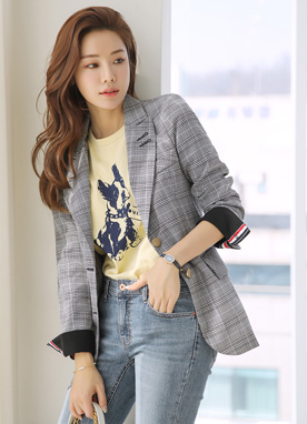 Check Print Two Button Tailored Jacket, Styleonme